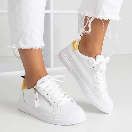 Białe damskie tenisówki z żółtymi wstawkami a'la skóra węża Lotine - Obuwie