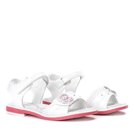 Białe dziewczęce sandały z aplikacją Ran- Obuwie