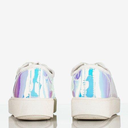 Białe holograficzne tenisówki na platformie Insane - Obuwie
