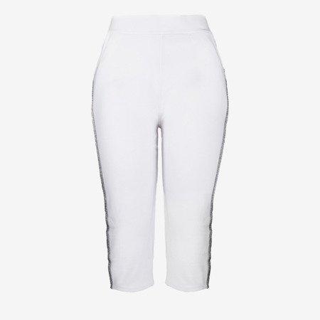 Białe krótkie legginsy z lampasami - Spodnie