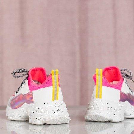 Białe-różowe buty ugly shoes na grubej podeszwie Tanya - Obuwie