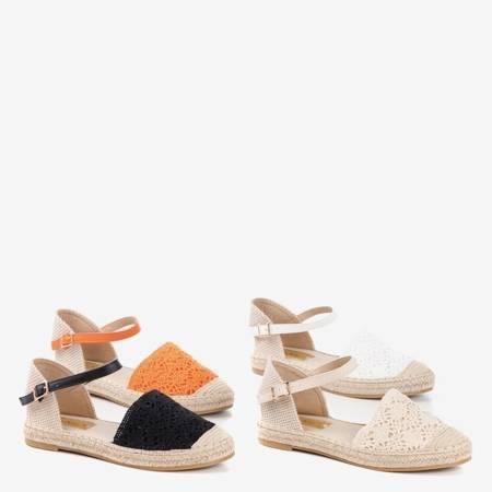 Białe sandały typu espadryle z ażurową cholewką Asia - Obuwie