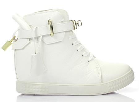 Białe sneakersy na krytym koturnie Aruli - Obuwie