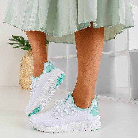 Białe sportowe buty damskie z miętowymi wstawkami Toledo - Obuwie
