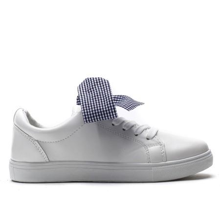 Białe, sportowe buty z kokardą Alice - Obuwie
