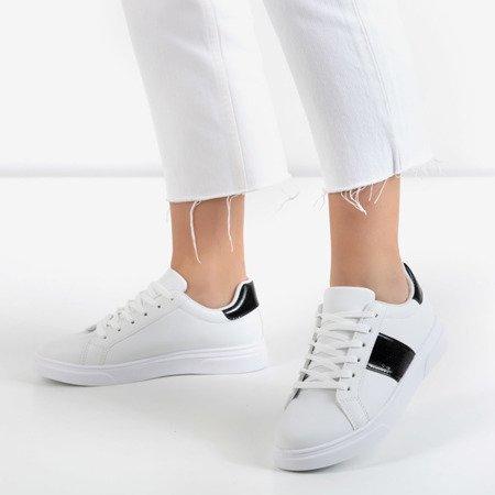 Białe sportowe tenisówki damskie z czarnymi wstawkami Hypnos - Obuwie