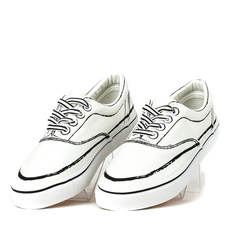 Białe tenisówki z czarnym wykończeniem Nevas - Obuwie