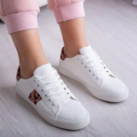 Białe tenisówki ze wstawkami w panterkę Dassers - Obuwie