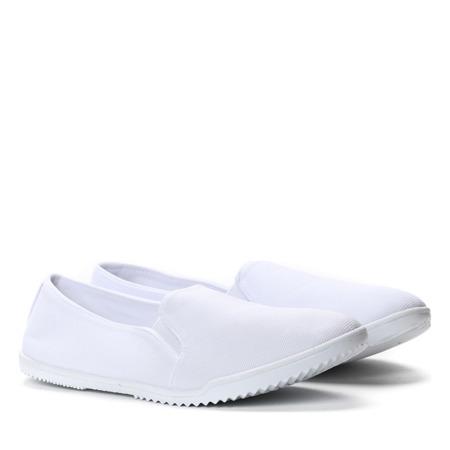 Białe, tkaninowe slip on Sky- Obuwie