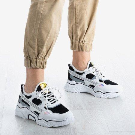 Biało - czarne buty sportowe z holograficznymi wstawkami Shavona - Obuwie