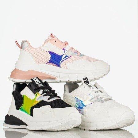 Biało - czarne damskie buty sportowe z holograficzną wstawką Super Soul - Obuwie
