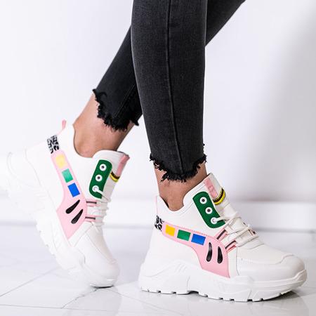 Biało - różowe buty sportowe na wyższej podeszwie Milkmade - Obuwie