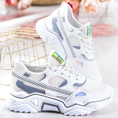 Biało szare buty sportowe z holograficznymi wstawkami Shavona Obuwie