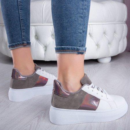 Biało-szare obuwie sportowe na platformie Des - Obuwie
