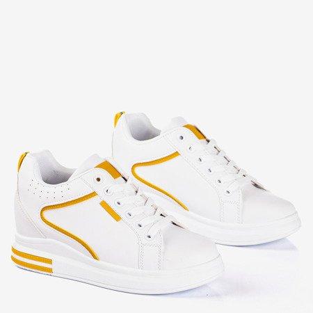 Biało-żółte damskie sneakersy na krytym koturnie Marcja - Obuwie