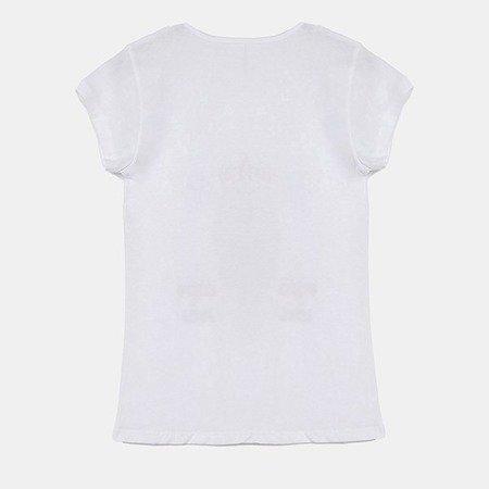 Biały t-shirt damski z nadrukiem - Bluzki