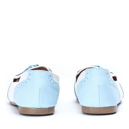 Błękitno-ecru mokasyny stylizowane- Obuwie