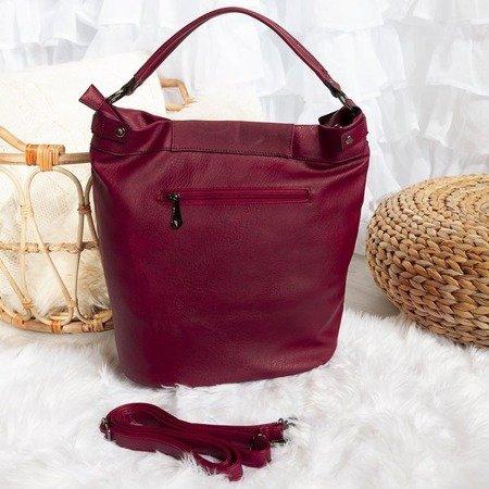 Bordowa duża torebka na ramię z eko - skóry - Torebki