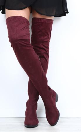 Bordowe zamszowe kozaki Monastira - Obuwie