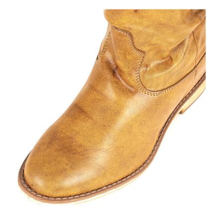 Brązowe botki a'la kowbojki na krytym koturnie Daressa - Obuwie