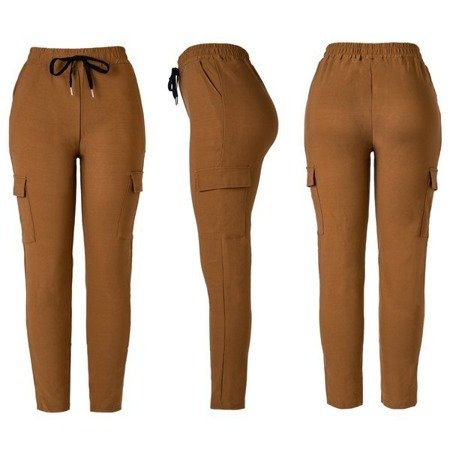 Brązowe damskie spodnie materiałowe tregginsy - Spodnie