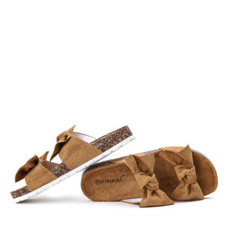 Brązowe klapki z kokardką Marecia - Obuwie