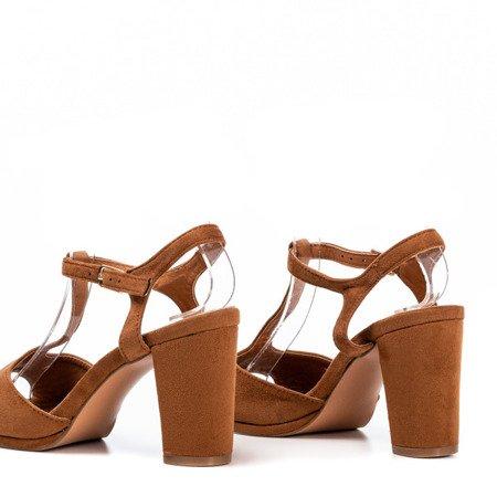 Brązowe sandały damskie na wyższym słupku Morata - Obuwie