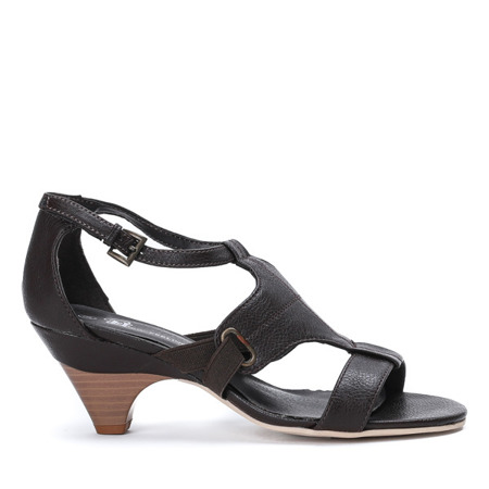 Brązowe sandały na słupku Maelys - Obuwie