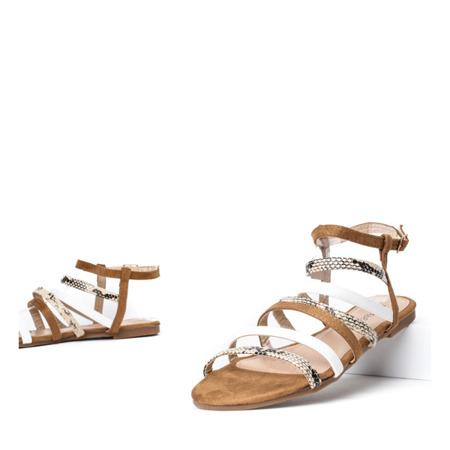 Brązowe sandały z kolorowymi paseczkami Gala - Obuwie