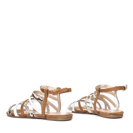 Brązowe sandały z kolorowymi paseczkami Galina - Obuwie