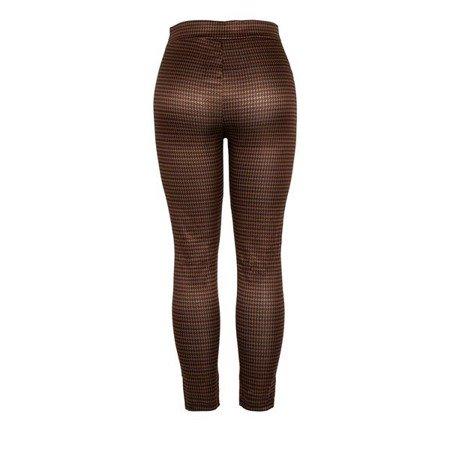 Brązowo-czarne spodnie z wysokim stanem - Spodnie