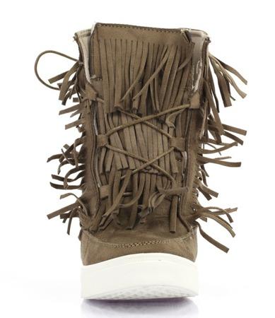 Ciemnobeżowe sneakersy z frędzlami na krytym koturnie Kennedy - Obuwie