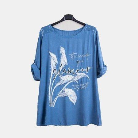 Ciemnoniebieska tunika damska z printem i napisami - Odzież