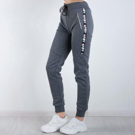 Ciemnoszare spodnie dresowe z napisami Spodnie