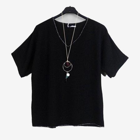 Czarna damska bluzka z krótkim rękawem - Odzież