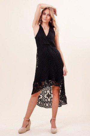 Czarna koronkowa sukienka na ramiączka - Sukienki
