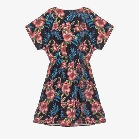 Czarna sukienka w kwiaty PLUS SIZE - Odzież