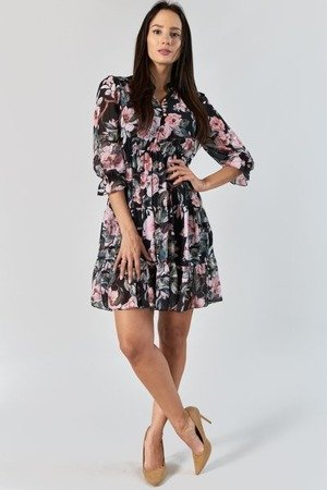 Czarna sukienka z nadrukiem w kwiaty - Odzież