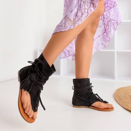 Czarne ażurowe sandały japonki z cholewką Joanina - Obuwie