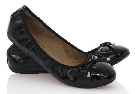 Czarne balerinki z kokardką - Obuwie