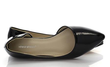 Czarne balerinki z wycięciem - Obuwie