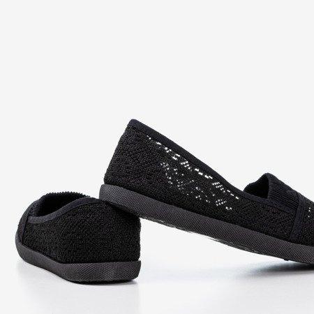 Czarne baleriny slip - on koronkowe Noremies - Obuwie