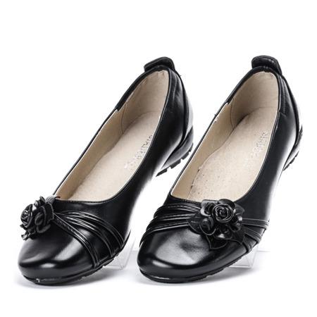 Czarne baleriny ze skóry ekologicznej Clamensa - Obuwie