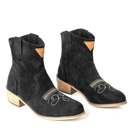 Czarne botki a'la kowbojki na niskim obcasie Toronto - Obuwie