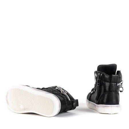 Czarne botki dziewczęce zapinane na zamek  Caramella - Obuwie