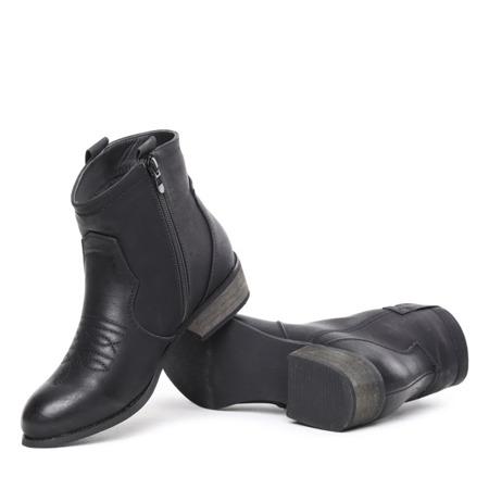 Czarne botki na płaskim obcasie Aghta - Obuwie