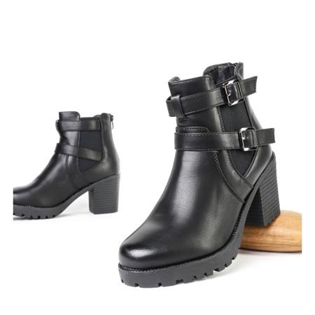 Czarne botki na słupku Jorgina - Obuwie