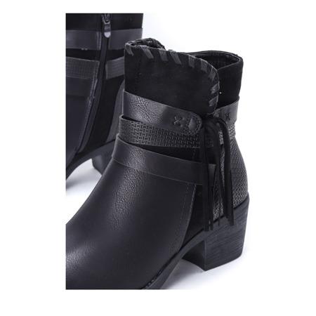Czarne botki na słupku Junco - Obuwie