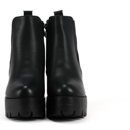 Czarne botki na słupku Menika - Obuwie