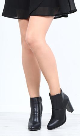 Czarne botki na słupku Oliviera- Obuwie